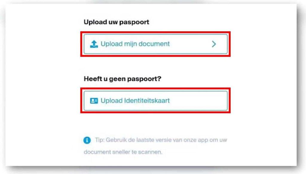 paspoort of identiteitsbewijs uploaden DEGIRO