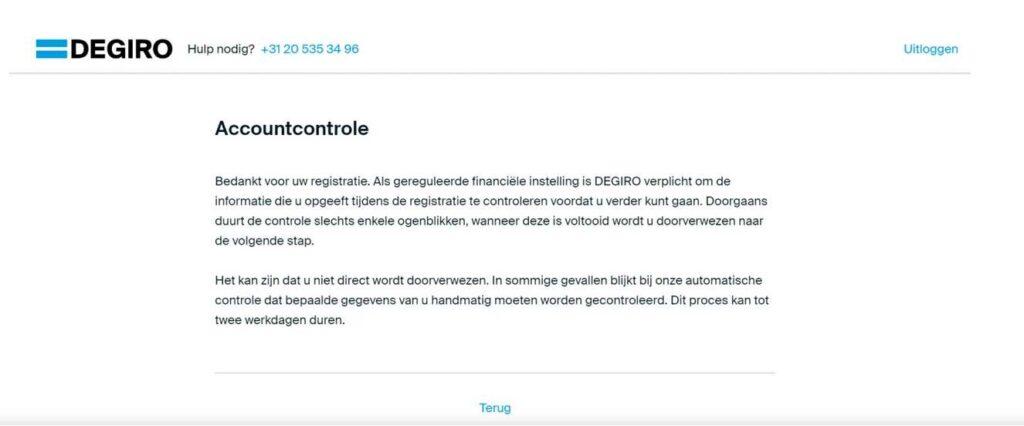 DEGIRO rekening openen accountcontrole
